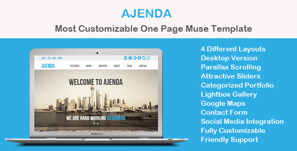 Ajenda - Multi-purpose One Page Muse Template - Corporate Muse Templates