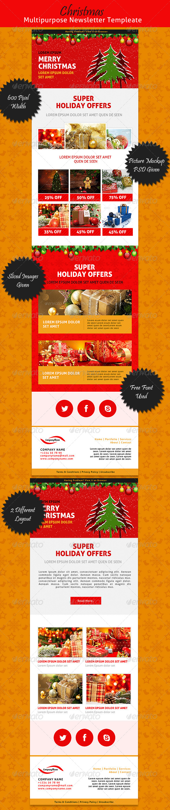 GraphicRiver Christmas Multipurpose Newsletter Template 6416163