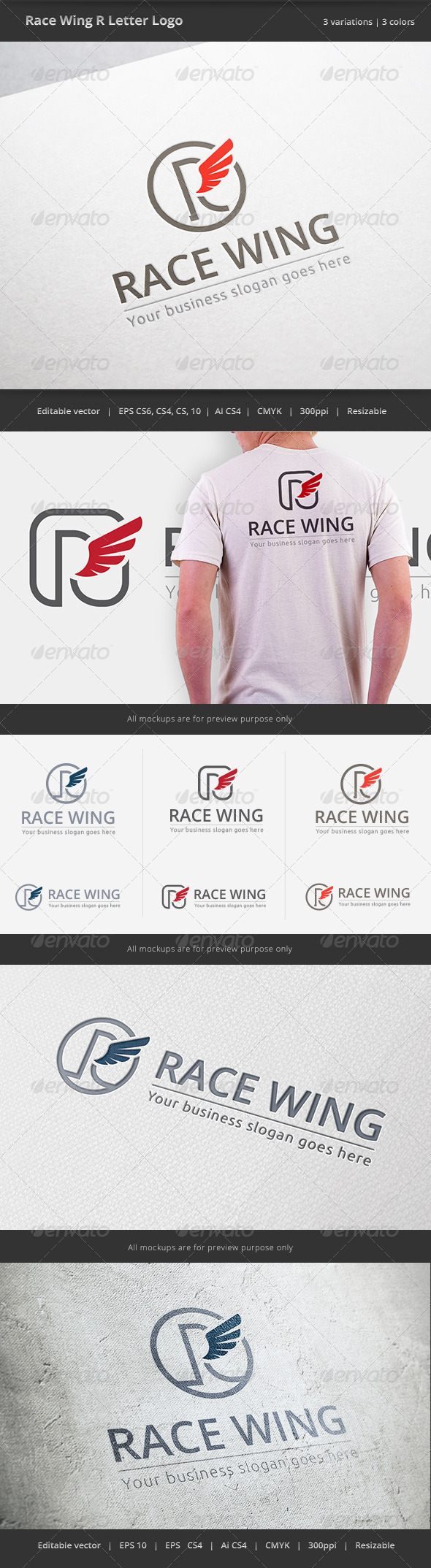 GraphicRiver Race Wing R Letter Logo 6416172