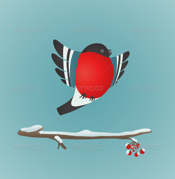 GraphicRiver Bullfinch Flying and Ashberry Twig 6417748
