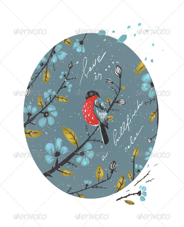 GraphicRiver Winter Flowers and Bullfinch Drawing 6417793