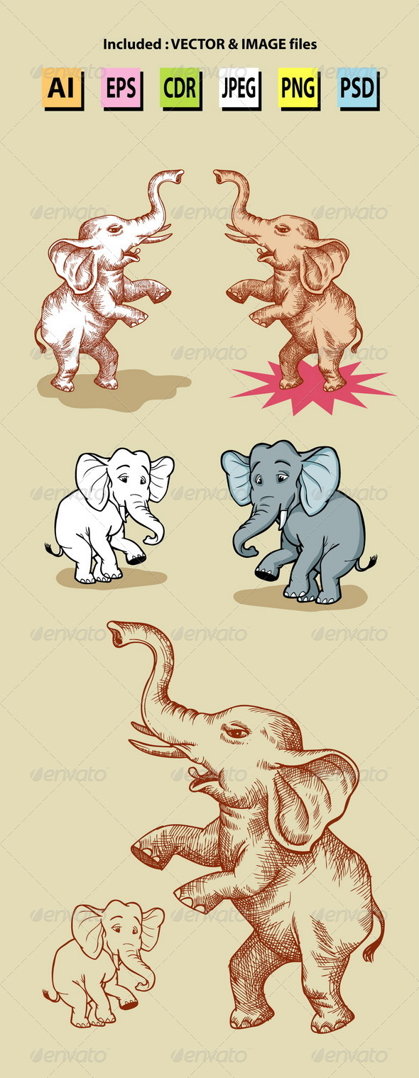 Standing Elephants Illustration - Animals Characters