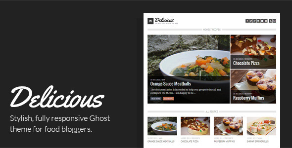 ThemeForest Delicious Recipe & Food Ghost Theme 6416618
