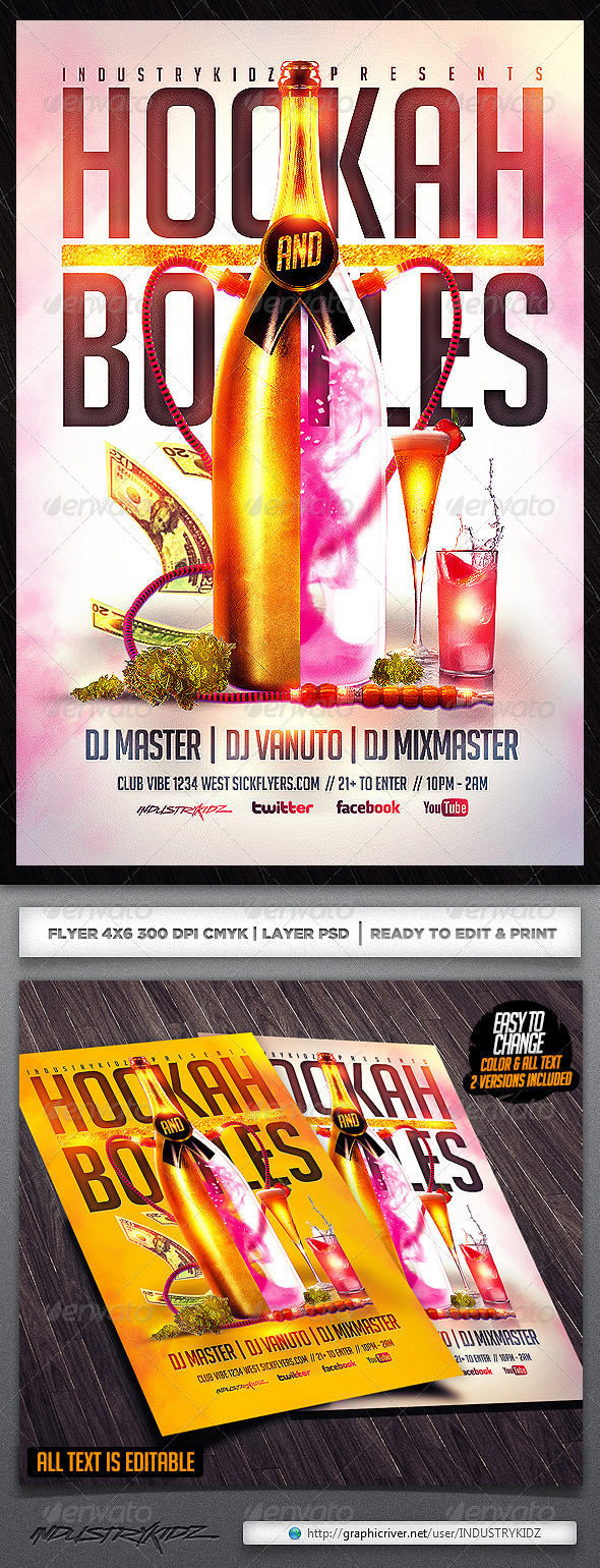 Hookah And Bottles Flyers Template - Clubs & Parties Events