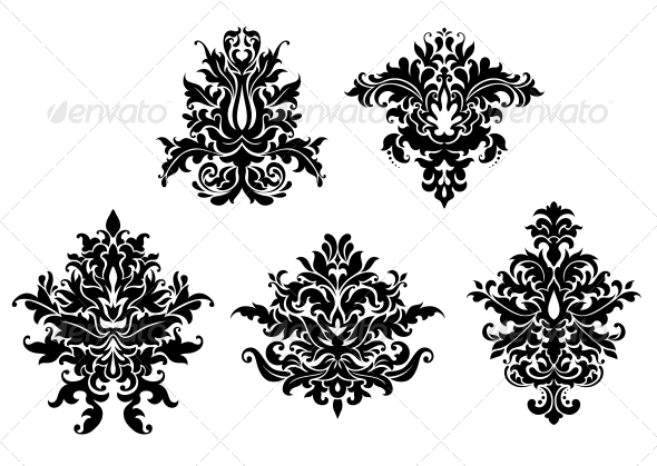 GraphicRiver Floral Damask Patterns Set 6420836