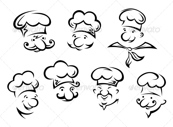 GraphicRiver Cartoon Portraits of Chefs 6420885