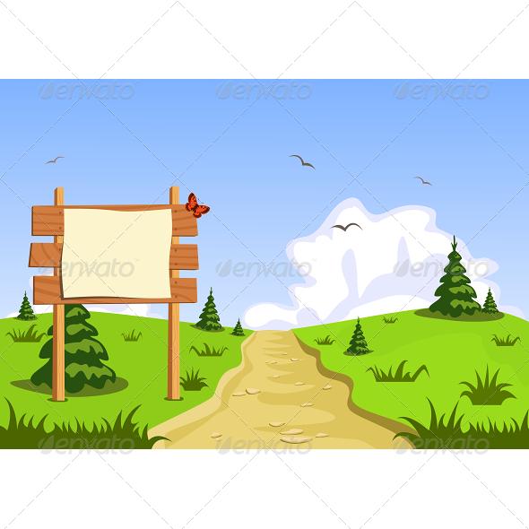 GraphicRiver Landscape in Front of Blank Blackboard Navigation 6420889