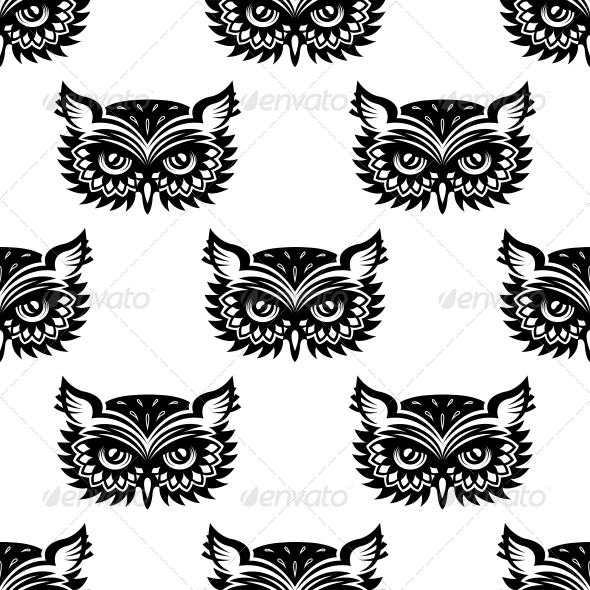 GraphicRiver Seamless Pattern with Black Owl Head 6420921