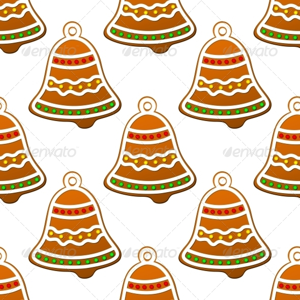 GraphicRiver Christmas Gingerbread Bell Seamless Background 6421025