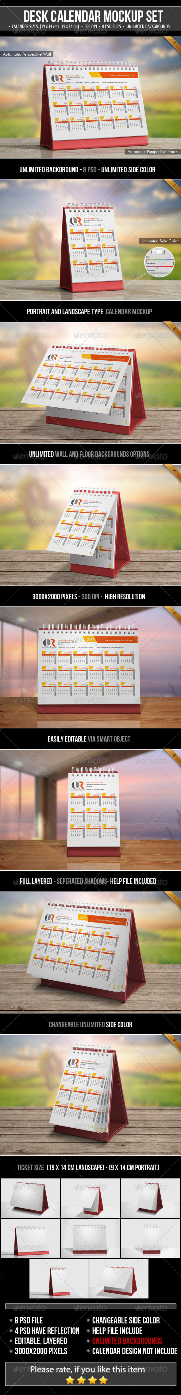 Desk Calendar Mockup Set - Miscellaneous Print