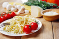 Pasta in the white plate on the wooden table - PhotoDune Item for Sale