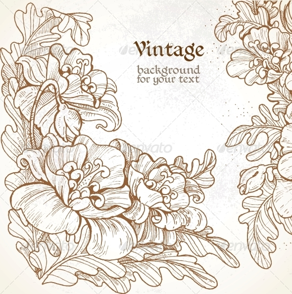GraphicRiver Vintage Frame with Poppies 6424775