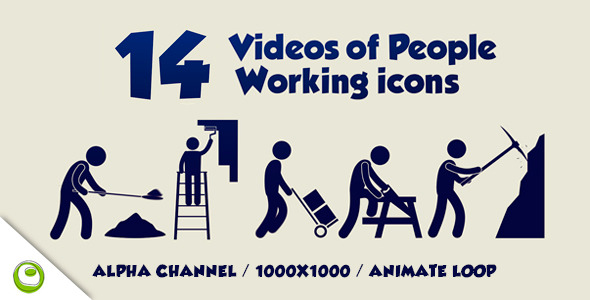 VideoHive 14 Videos Of People Working Icons 6424812