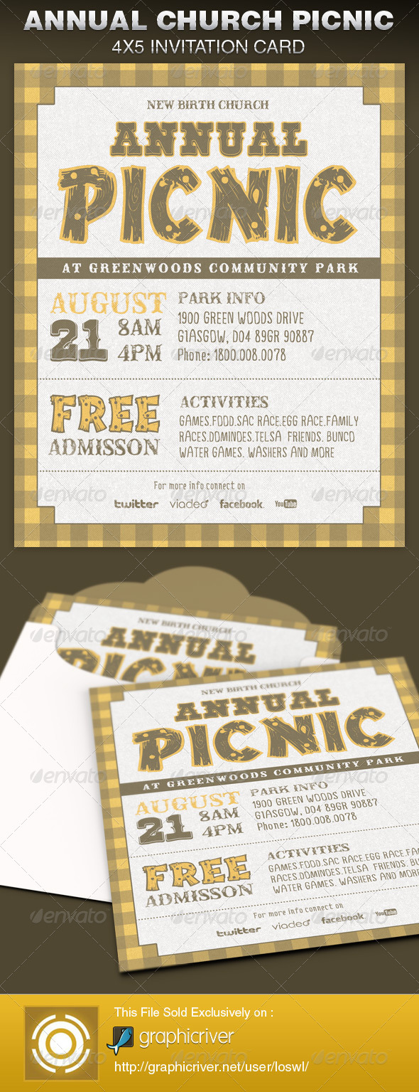 GraphicRiver Annual Church Picnic Invite Card Template 6424893