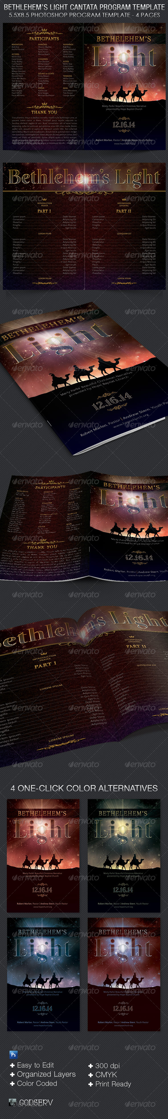 Bethlehem's Light Cantata Program Template  - Brochures Print Templates