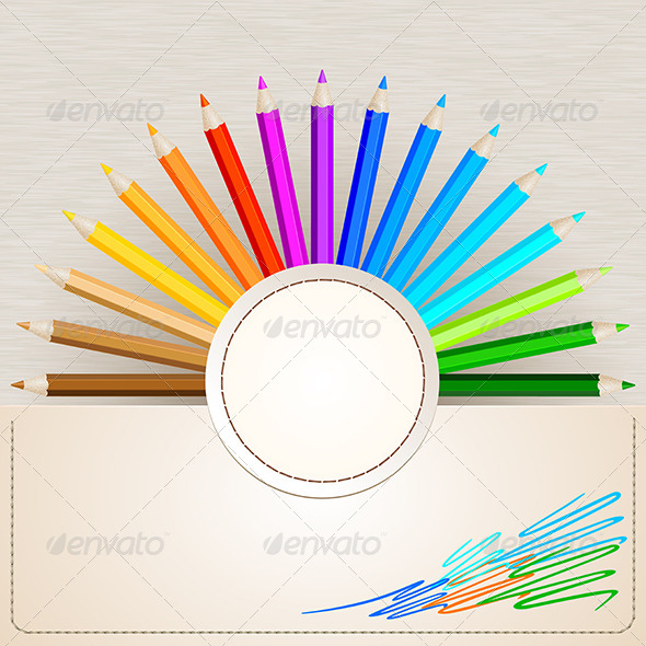 GraphicRiver Pencil Colors on Paper Background 6426842