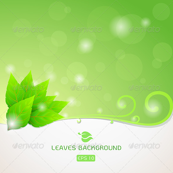 GraphicRiver Green Leaves Ecology Background 6426902