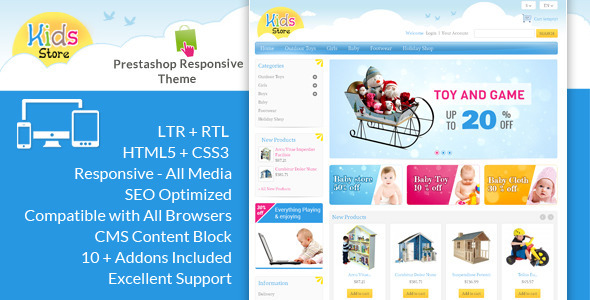 If you like our themes, please don't forget to rate it. This helps us a lot Template ID : PRS030068 Kids Prestashop Theme is specially designed for toys,