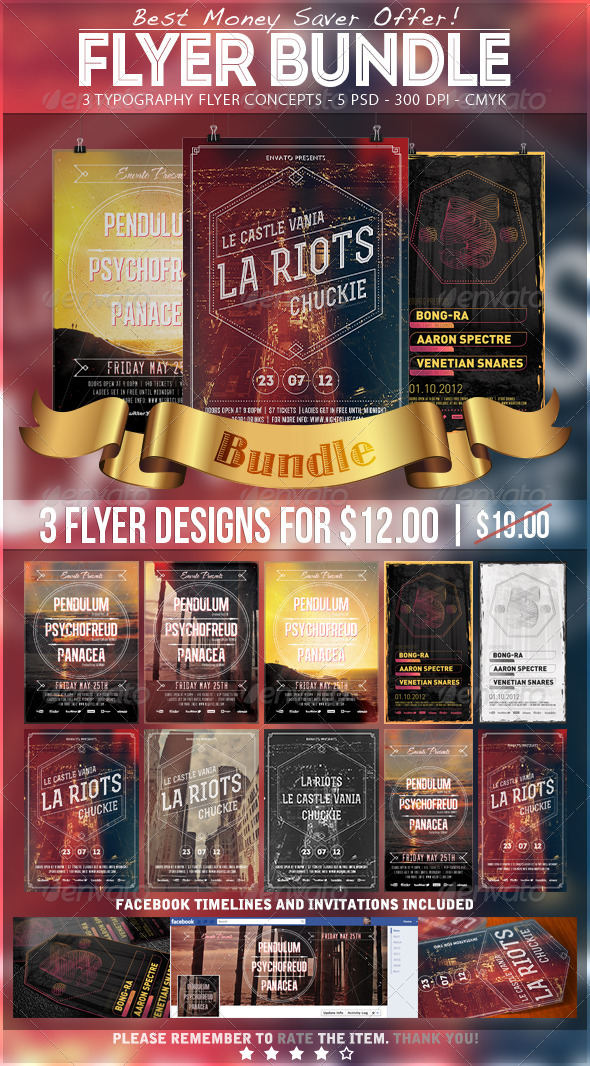 Typography Party Flyer Bundle 1 - Events Flyers