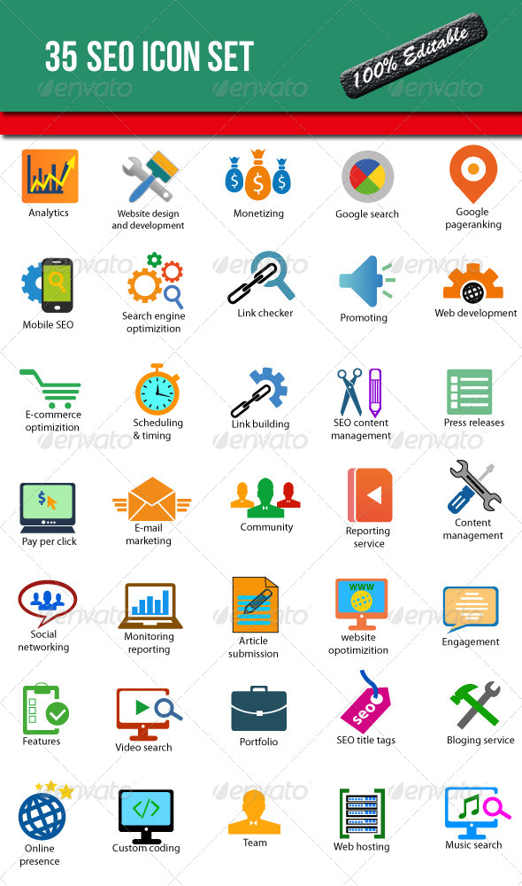 GraphicRiver 35 SEO Icon Set 6430193