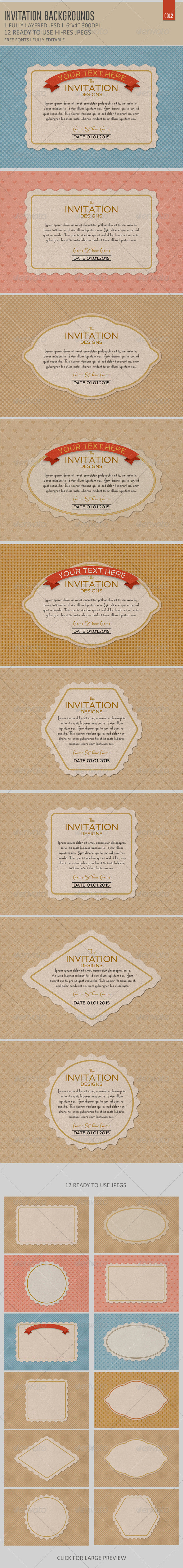 GraphicRiver Invitation Card Backgrounds Col2 6431809