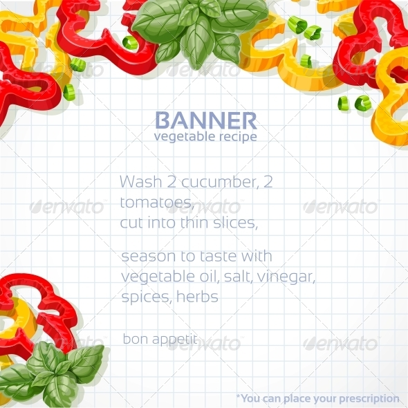 GraphicRiver Paper Recipe with Peppers and Basil 6432545