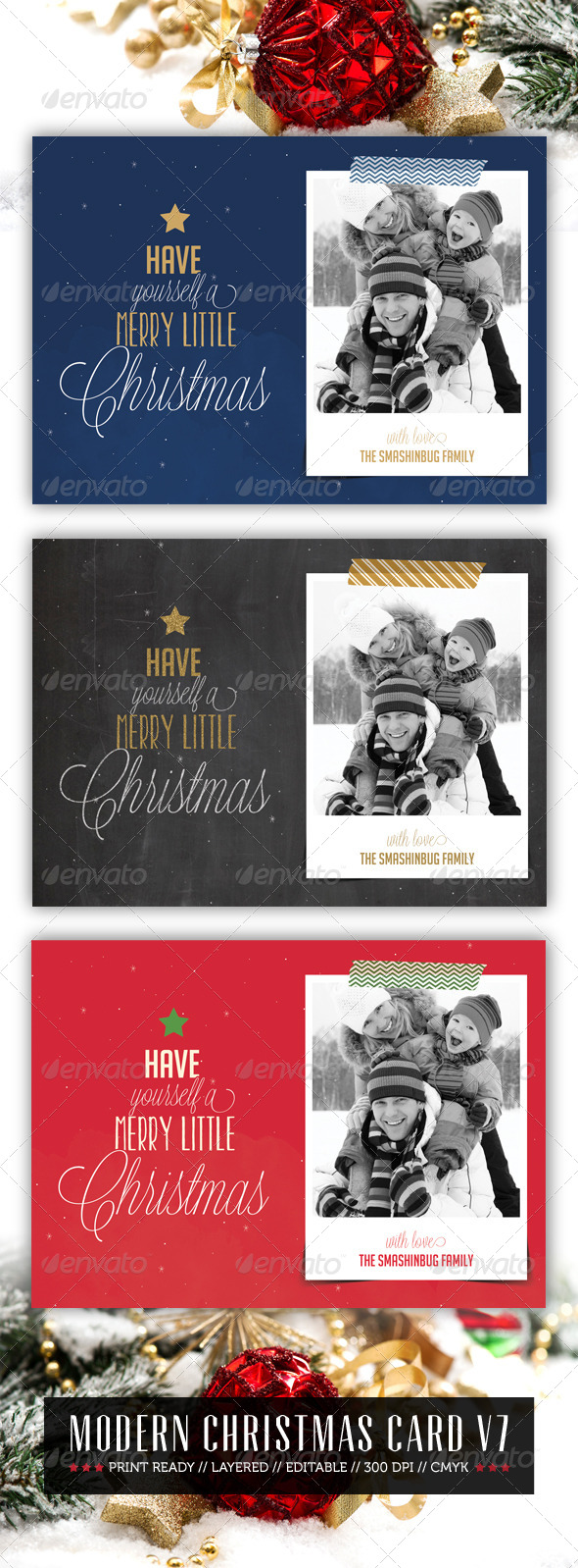 Modern Christmas Card V7  - Holiday Greeting Cards