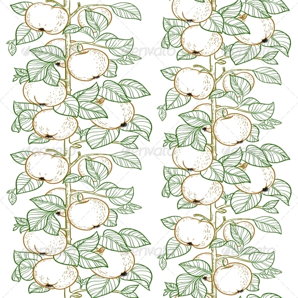 GraphicRiver Seamless Pattern of the Branches of the Apple 6433385