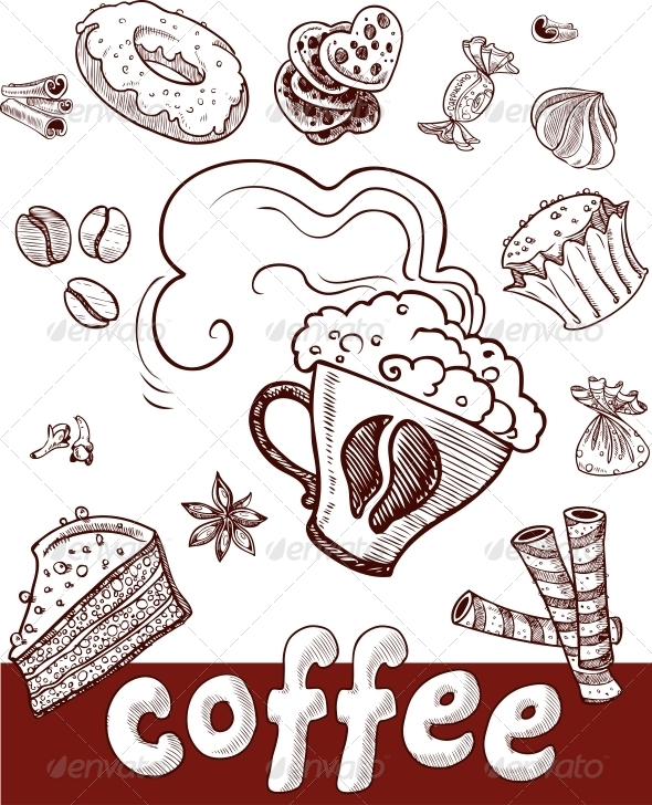 GraphicRiver Coffee and Sweets.Handdrawing 6433467