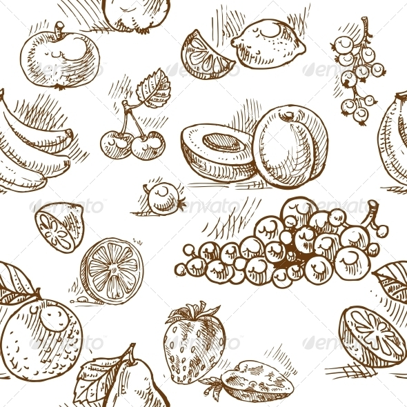 GraphicRiver Seamless Pattern of Summer Fruit Doodles 6433547