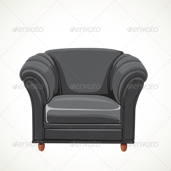 GraphicRiver Black Vector Isolated Leather Armchair 6433763