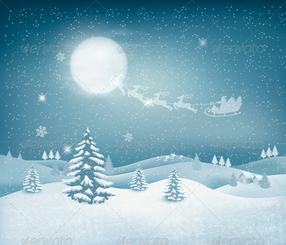 GraphicRiver Holiday Christmas Background with Winter Landscape 6434339