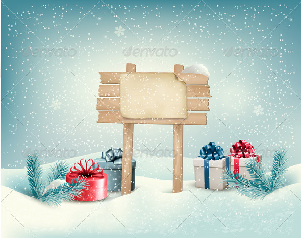 GraphicRiver Christmas Winter Background with Presents 6434364