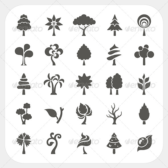 GraphicRiver Abstract Tree Icons Set 6434463