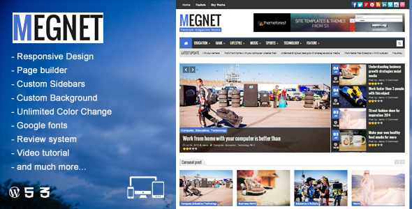 Megnet - WordPress Magazine theme. Theme para wordpress para periodíco