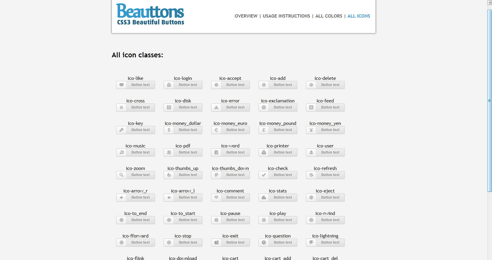 Beauttons - Beautiful CSS3 Buttons - Screenshot of included html - All available icons