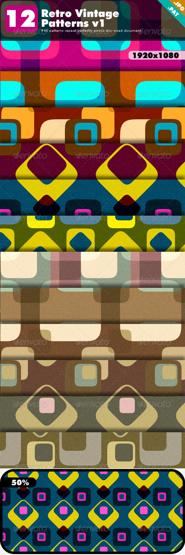 Retro Vintage Patterns v1 - Abstract Textures / Fills / Patterns
