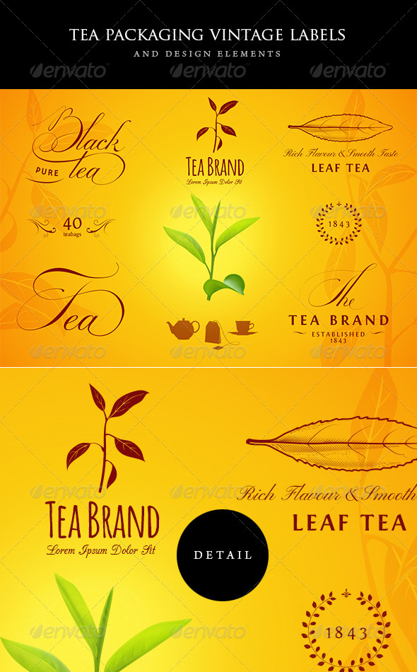 GraphicRiver Tea Vintage Labels and Design Elements 6435183