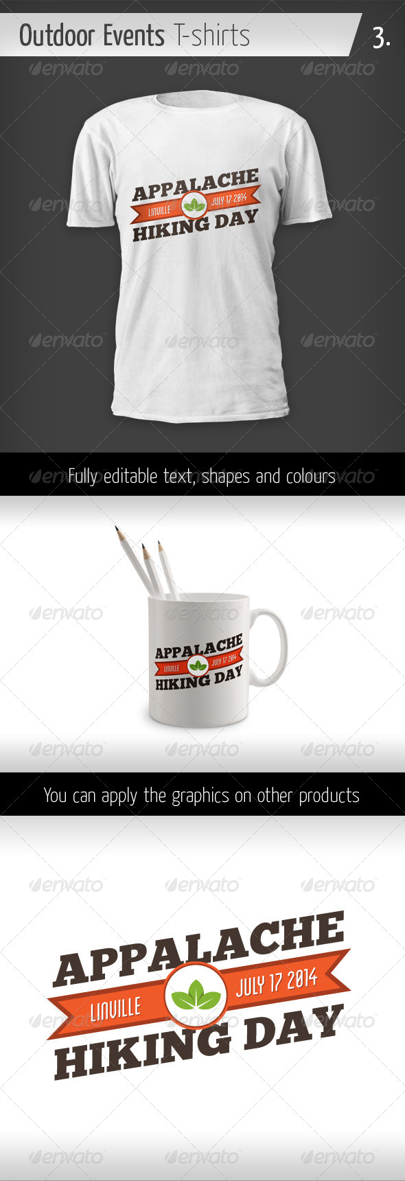 GraphicRiver Outdoor Events T-shirts Hiking Day 6436172