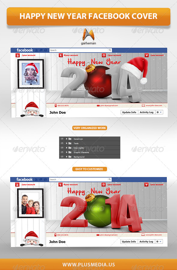 GraphicRiver Happy New Year Facebook Cover 6412967