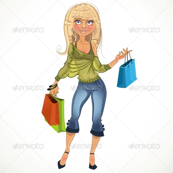 GraphicRiver Blond Shopping Glamur Girl 6439974