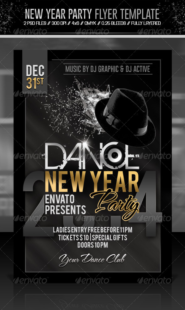 GraphicRiver New Year Dance Party Flyer 6440036