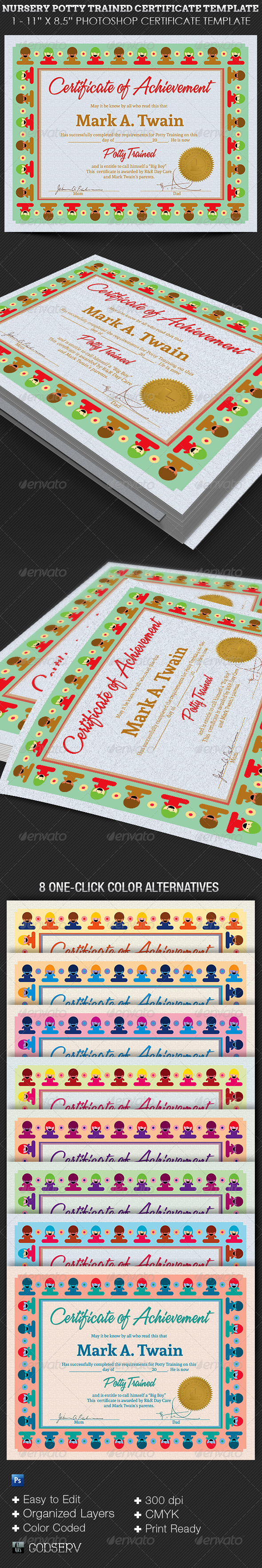 GraphicRiver Nursery Potty Trained Certificate Template 6442544