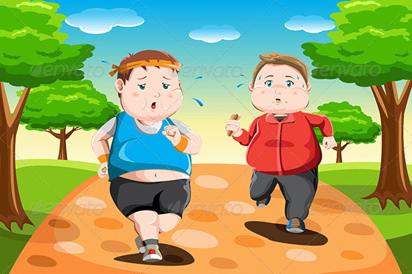 GraphicRiver Overweight Kids Running 6442548