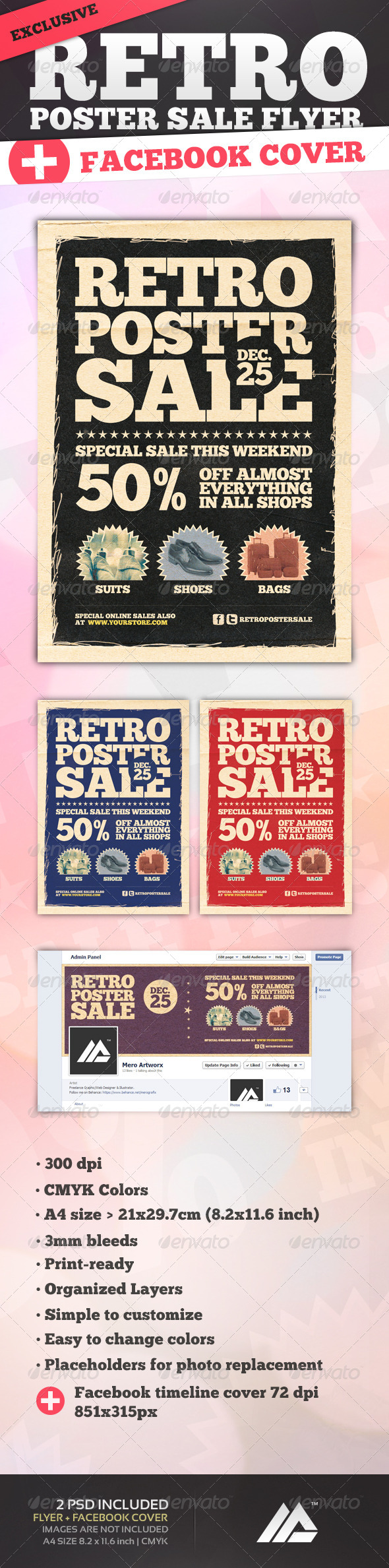 GraphicRiver Retro Poster Sale Flyer PSD 6442583