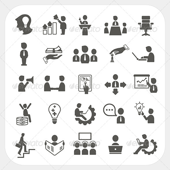 GraphicRiver Management and Business Icons Set 6442663