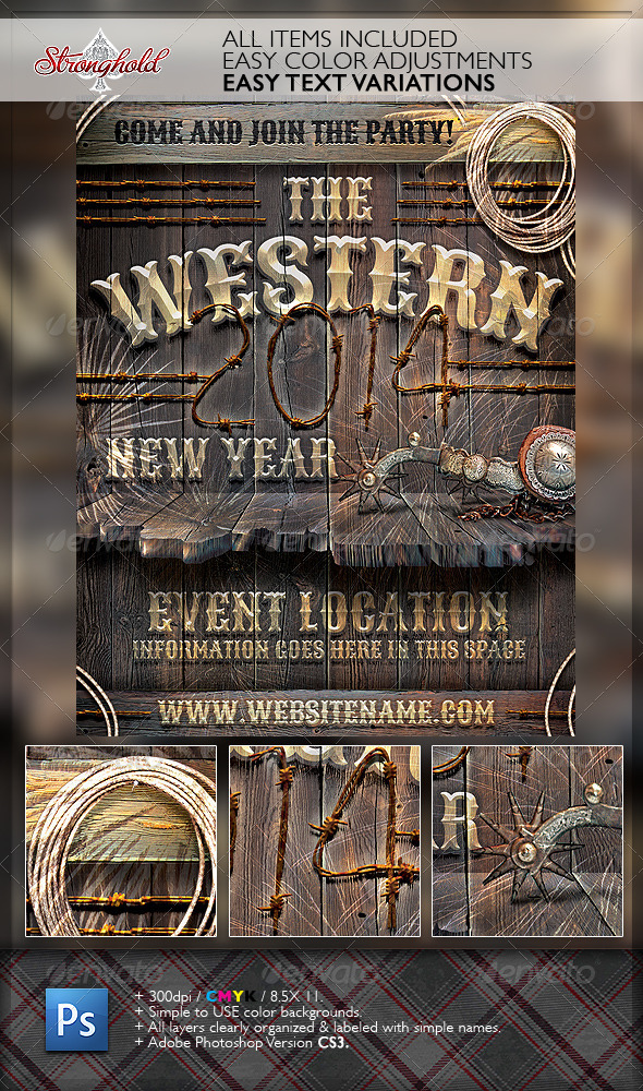 GraphicRiver New Year Western Wood Flyer Template 6442671