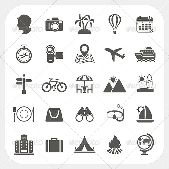 GraphicRiver Travel and Vacation Icons Set 6442679
