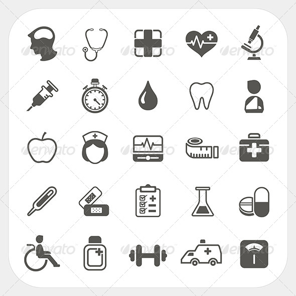 GraphicRiver Medical and health Icons Set 6442685