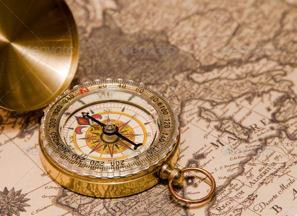 Stock Photo - PhotoDune Compass on a card 672727